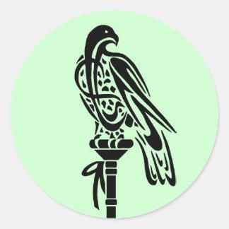 Falcon on Block Perch Round Sticker