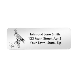 falcon on glove return address labels