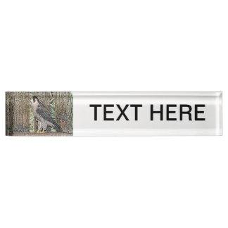falcon sketch bird design wild animal name plate