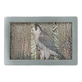 falcon sketch bird design wild animal rectangular belt buckle