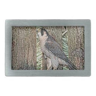falcon sketch bird design wild animal rectangular belt buckle