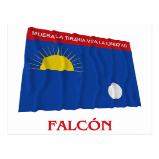 Falcón Waving Flag with Name Postcard