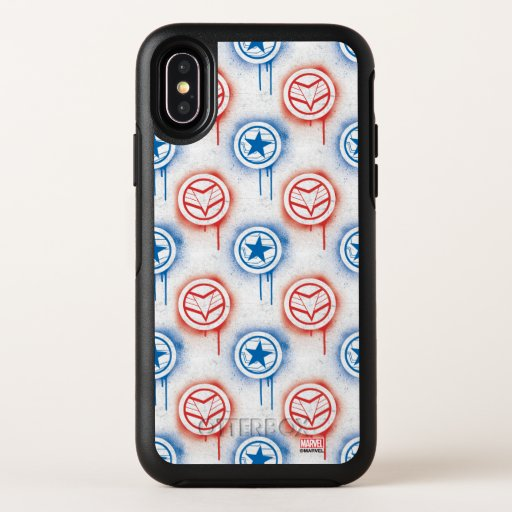 Falcon & Winter Soldier Spraypaint Icon Pattern OtterBox Symmetry iPhone X Case