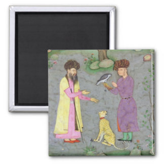 Falconer with companion and pet cheetah, from the 2 inch square magnet