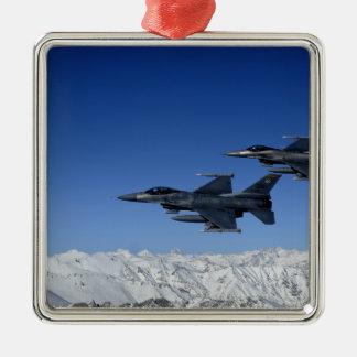 Falcons que luchan del F-16 de la fuerza aérea de Adorno Navideño Cuadrado De Metal