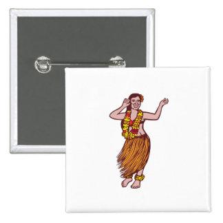 Falda de hierba polinesia del bailarín Linocut Pin Cuadrada 5 Cm