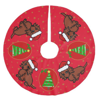 Falda de pelo largo roja del árbol de navidad del falda para arbol de navidad de poliéster
