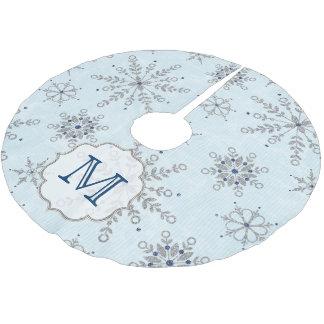 Falda de plata del árbol de la inicial del falda para arbol de navidad de poliéster