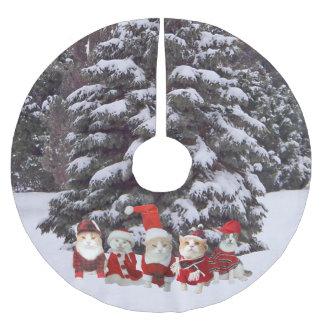 Falda del árbol de los gatos/de los gatitos del falda para arbol de navidad de poliéster