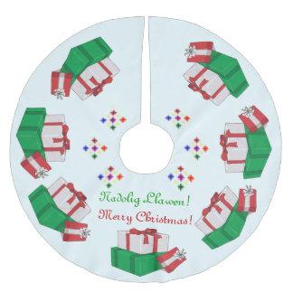Falda del árbol del adorno de los regalos del falda para arbol de navidad de poliéster