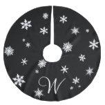 Falda del árbol del copo de nieve del monograma falda de árbol de navidad de poliéster