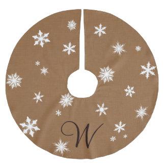 Falda del árbol del copo de nieve del monograma