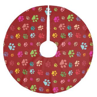 Falda del árbol del diseño de Pawprints Falda Para Arbol De Navidad De Poliéster