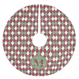 Falda del árbol del monograma de Argyle del Falda De Árbol De Navidad De Poliéster
