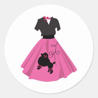 Falda del caniche etiqueta redonda