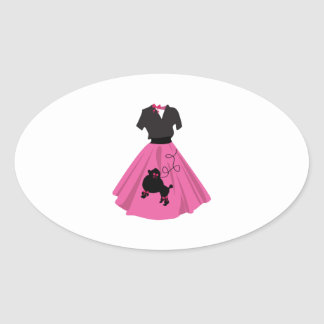 Falda del caniche calcomanía de ovaladas