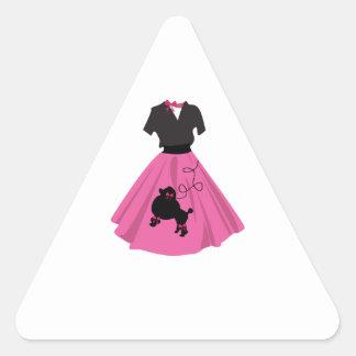 Falda del caniche pegatinas triangulo