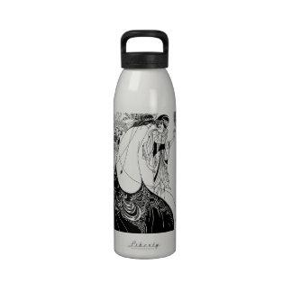 Falda del pavo real de Nouveau Beardsley del arte Botella De Agua