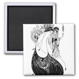 Falda del pavo real de Nouveau Beardsley del arte Iman De Nevera
