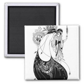 Falda del pavo real de Nouveau Beardsley del arte Imán Cuadrado