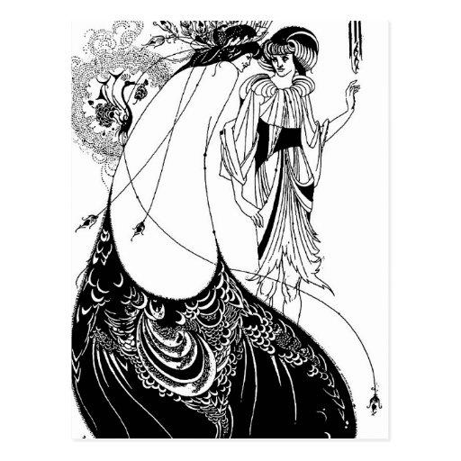 Falda del pavo real de Nouveau Beardsley del arte Postales