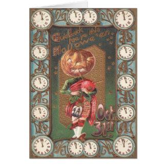 Falda escocesa de la gaita de la calabaza de la tarjeta de felicitación