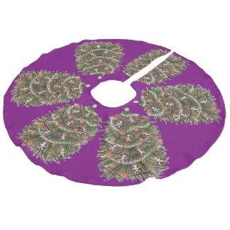 Falda púrpura del árbol de navidad falda para arbol de navidad de imitación de lino