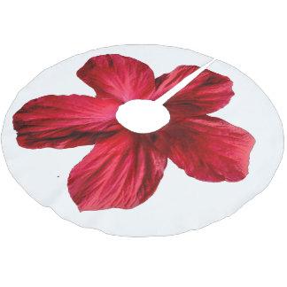 Falda roja del árbol de la flor del hibisco falda para arbol de navidad de poliéster