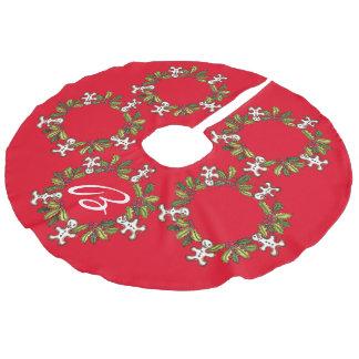 Falda roja del árbol de la guirnalda adaptable falda para arbol de navidad de imitación de lino