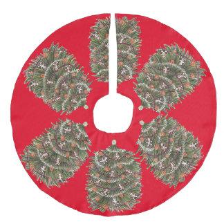 Falda roja del árbol de navidad falda para arbol de navidad de imitación de lino