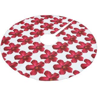 Falda roja del árbol del estampado de plores del falda para arbol de navidad de poliéster