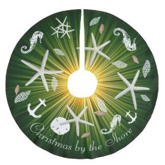 Falda verde del árbol de la vida marina del falda para arbol de navidad de poliéster