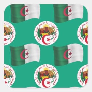 fAlgeria de la bandera y del escudo o Pegatina Cuadrada