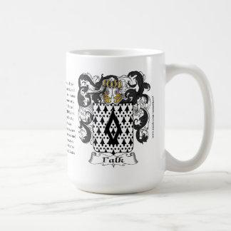 Falk, el origen, el significado y el escudo taza de café