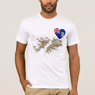 Falkland Islands Flag Heart and Map T-Shirt