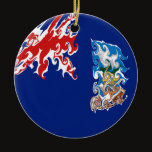 Falkland Islands Gnarly Flag Ceramic Ornament