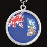 Falkland Islands Gnarly Flag Silver Plated Necklace