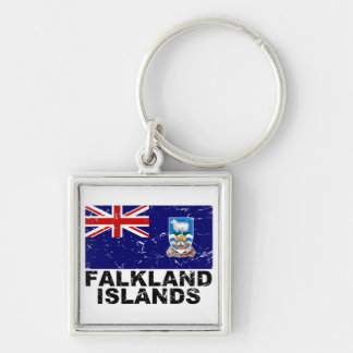 Falkland Islands Vintage Flag Silver-Colored Square Keychain