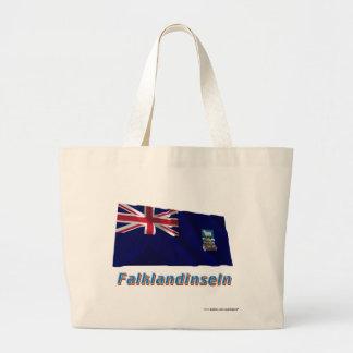 Falklandinseln Fliegende Flagge mit Namen Large Tote Bag