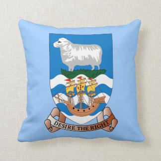 Falklands Sheep Ship Sea Flag Blue Throw Pillow