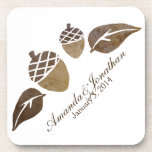 Fall Acorns and Leaves Wedding Beverage Coaster