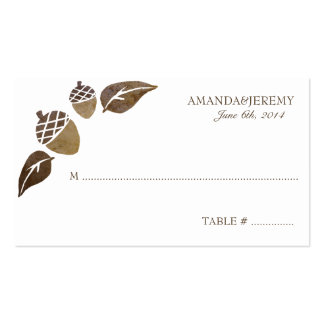 Fall Acorns and Leaves Wedding Double-Sided Standard Business Cards (Pack Of 100)