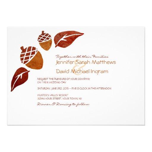 Fall Acorns And Leaves Wedding Invitations