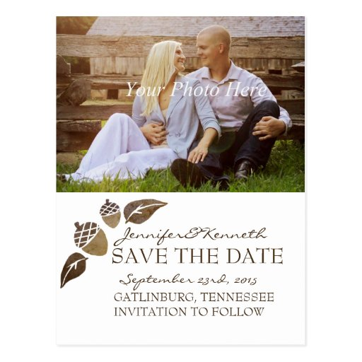 Fall Acorns and Leaves Wedding Postcards