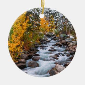 Fall along Bishop creek, California Ceramic Ornament