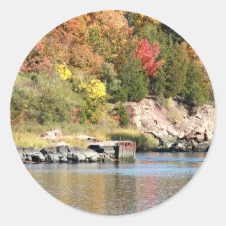 Fall Along the Farm River Classic Round Sticker