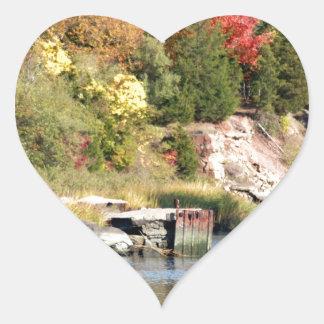Fall Along the Farm River Heart Sticker