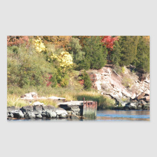 Fall Along the Farm River Rectangular Sticker