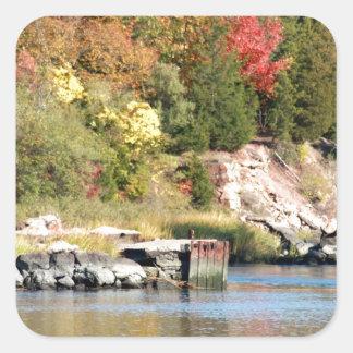 Fall Along the Farm River Square Sticker