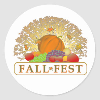 Fall and Autumn Festival Merchandise Round Stickers